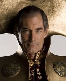 Timothy Dalton (aka James Bond) dressed as Rassilon the Time Lord in Doctor Who