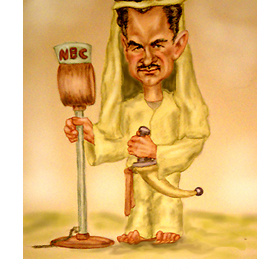 cartoon of Lowell Thomas dressed as TE Lawrence aka Lawrence of Arabia