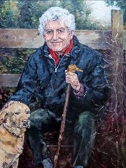 David Griffith's painting of Rhodri Morgan and his labrador William Tell, displayed at Rhodri's funeral service, showing Rhodri leaingin against a fence in the countryside near his home
