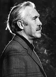 Profile shot of actor Jason Robards as James Tyrone Jr. in Eugene O'Neill's A Moon for the Misbegotten
