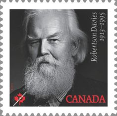 Robertson Davies, Canadian novelist, on commemorative stamp, showing name and dates, 1913-1995