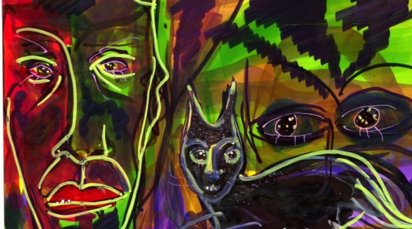 Expressionistic human faces with eyes outlines boldly flank a cat oulined down center with staring eyes