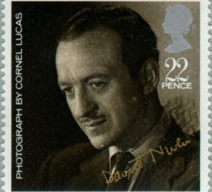 Actor David Niven pictured on 22 pence British postage stamp