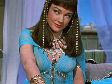 Anne Baxter as Nefretiti in Cecil B. DeMille's The Ten Commandments,dressed as the Egyptian Queen